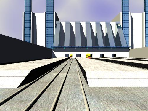 A picture of a railway station based on the futurist designs of Antonio Sant'Elia