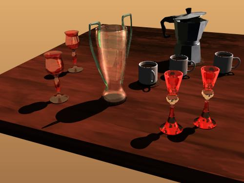 Picture of Venetian glassware with an espresso coffee maker and cups of coffee
